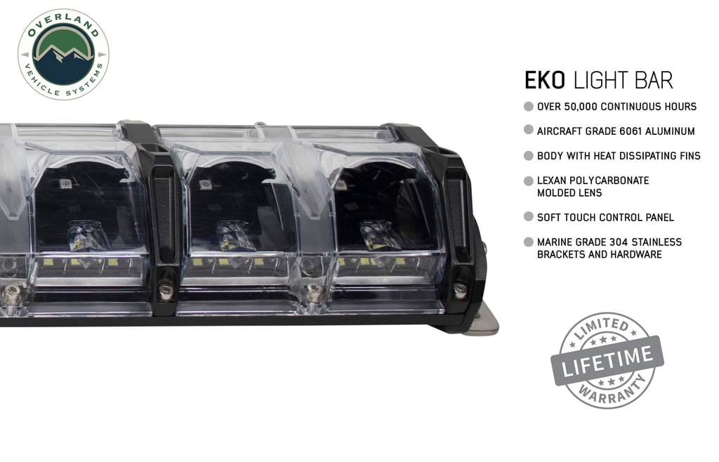 Overland Vehicle Systems 20 Inch LED Light Bar With Variable Beam DRL, RGB Back Light 6 Brightness EKO