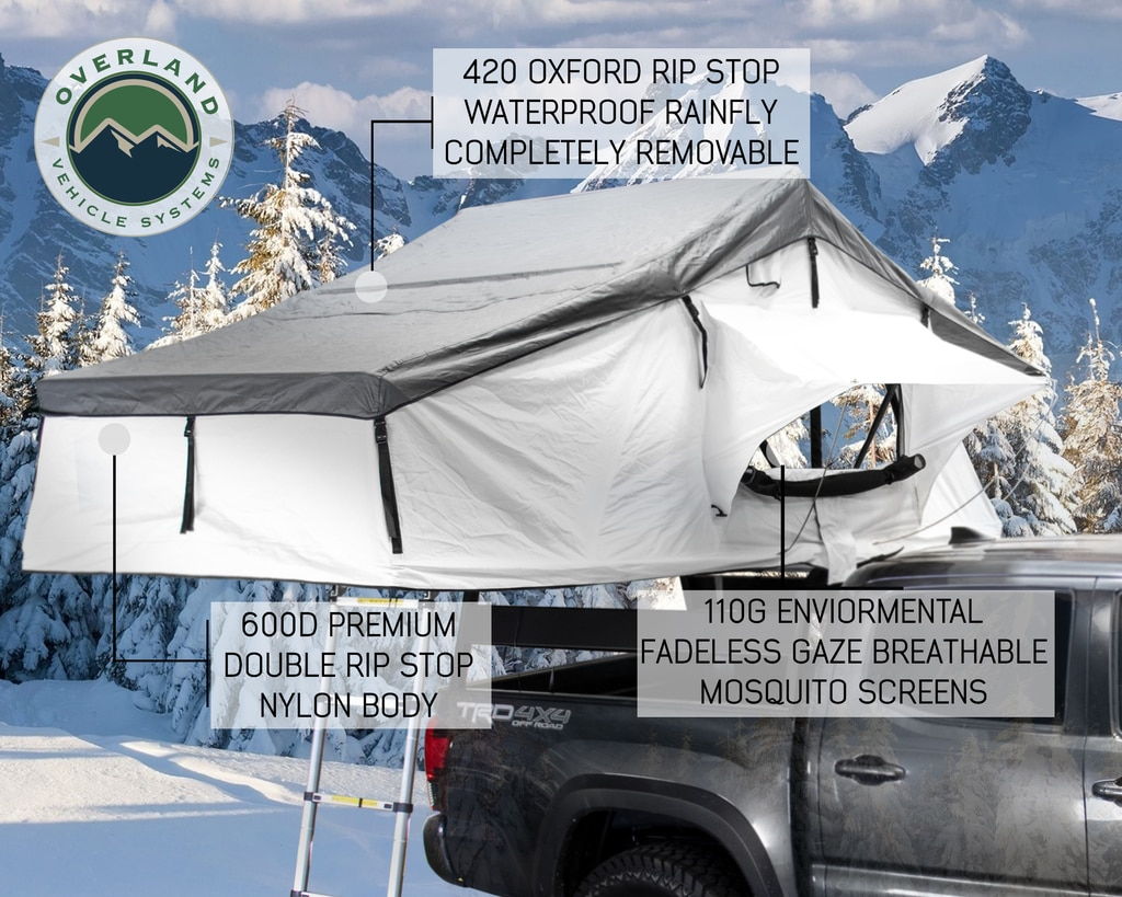 Overland Vehicle Systems Roof Top Tent Extended 3 Person Roof Top Tent With Annex White/Dark Gray Rain Fly Black Cover Nomadic Arctic