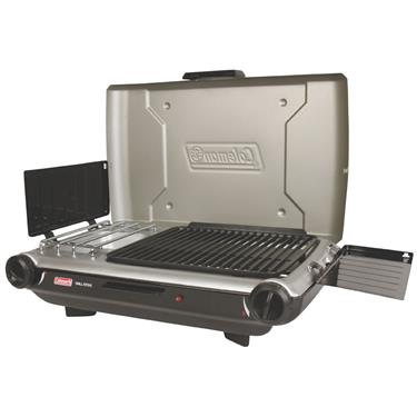 Coleman Barbeque Grille; PerfectFlow InstaStart Camp Stove w/2Burners/Broiler and Lid