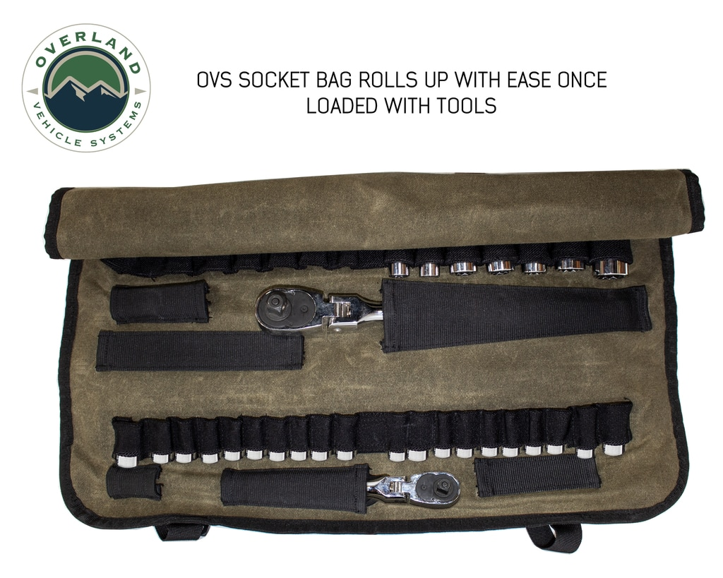 Overland Vehicle Systems Rolled Tool Bag Socket With Handle And Straps 16 Lb Waxed Canvas Universal