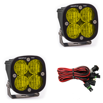 LED Light Pods Amber Lens Wide Cornering Pattern Pair Squadron Pro Series Baja Designs
