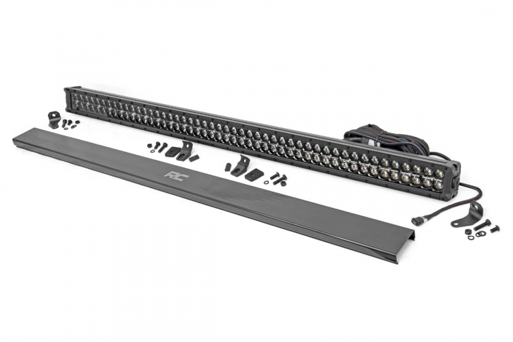 Rough Country 50in Cree LED Light Bar; Dual Row; Black Series w/Amber DRL