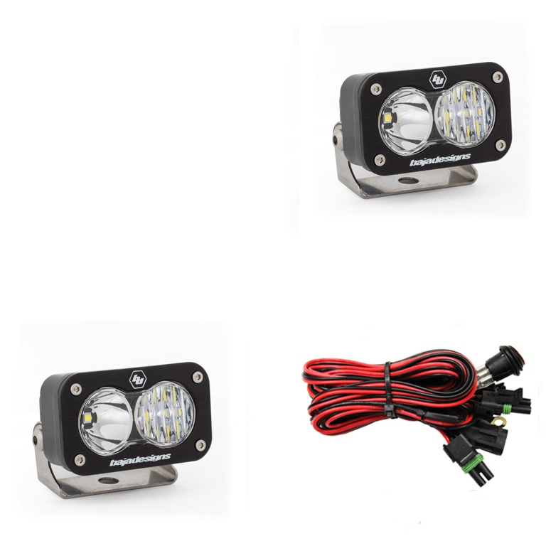LED Work Light Clear Lens Driving Combo Pattern Pair S2 Sport Baja Designs