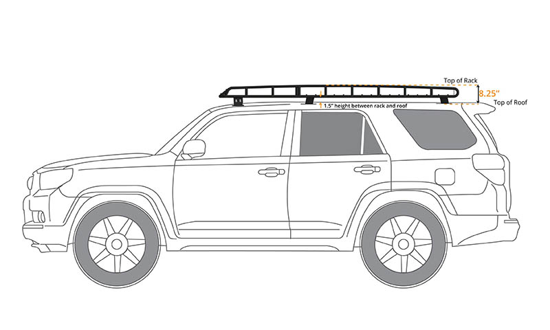 4Runner Gen 5 Standard Basket (long) Rack (sunroof cutout - mesh floor) 2010-2018