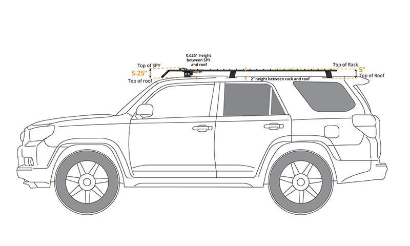 4Runner Gen 5 UT (flat) Rack with SPY Light System 2010-2018