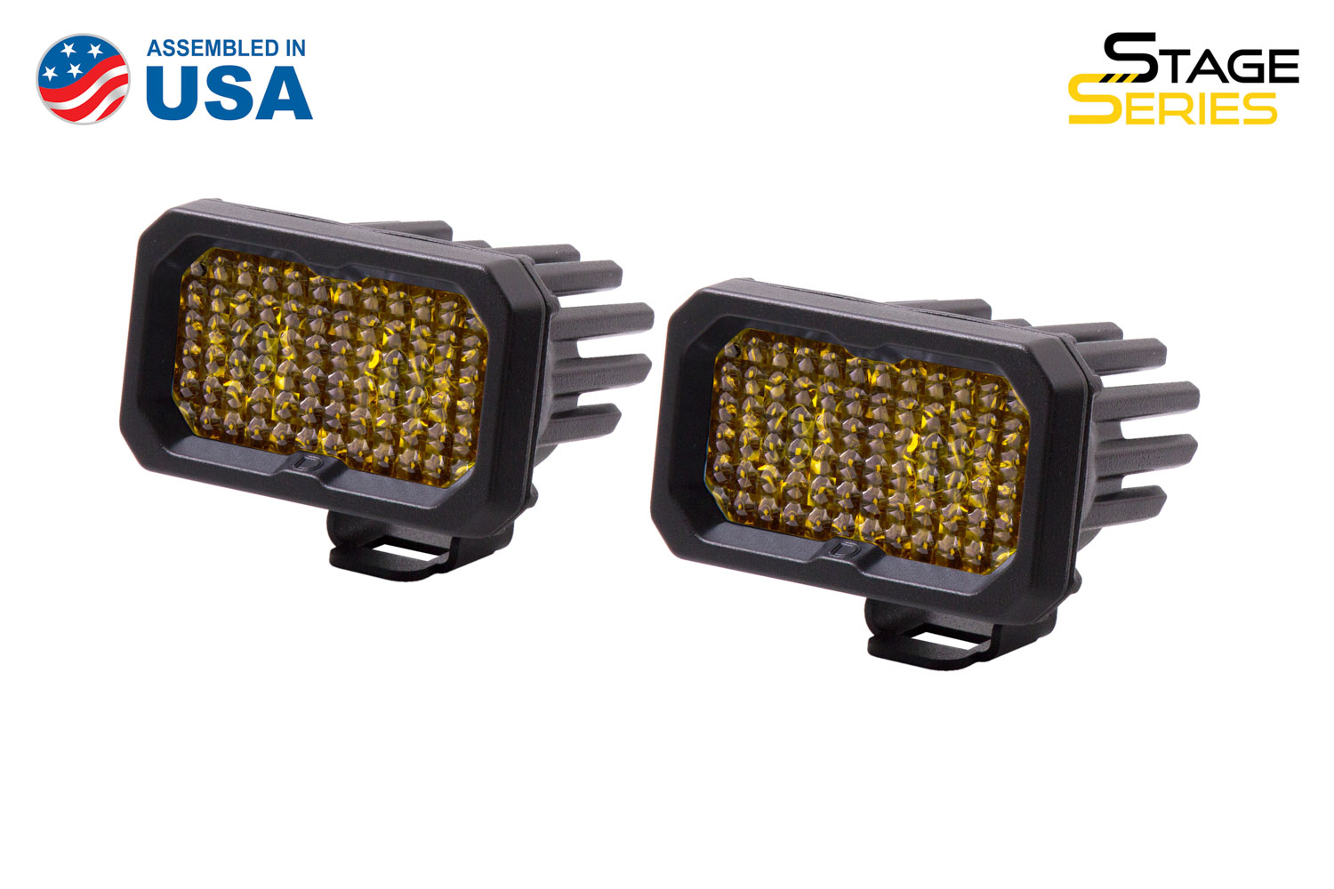 Diode Dynamics Stage Series 2 Inch LED Pod, Pro Yellow Flood Standard ABL Pair