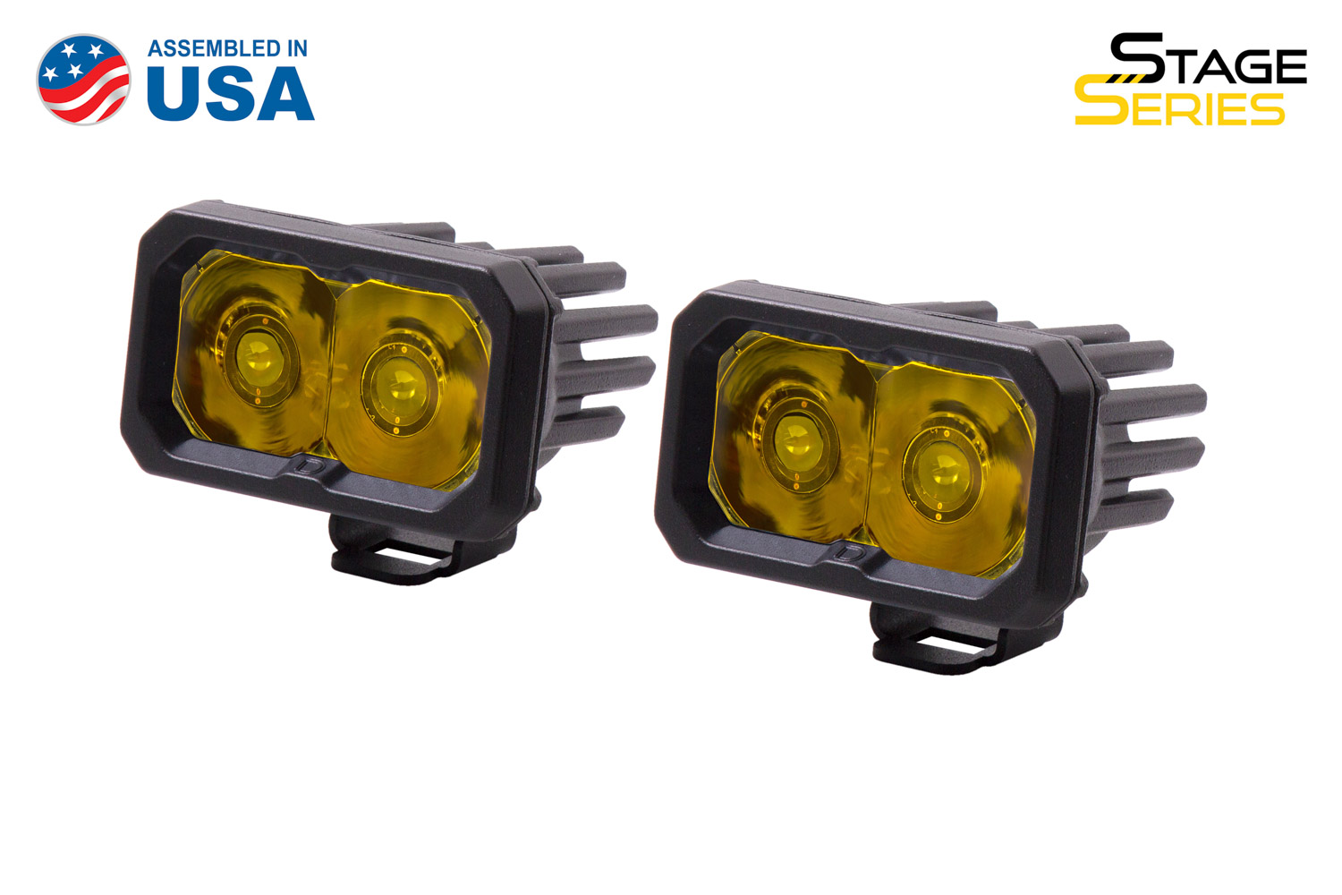 Diode Dynamics Stage Series 2 Inch LED Pod, Pro Yellow Spot Standard ABL Pair