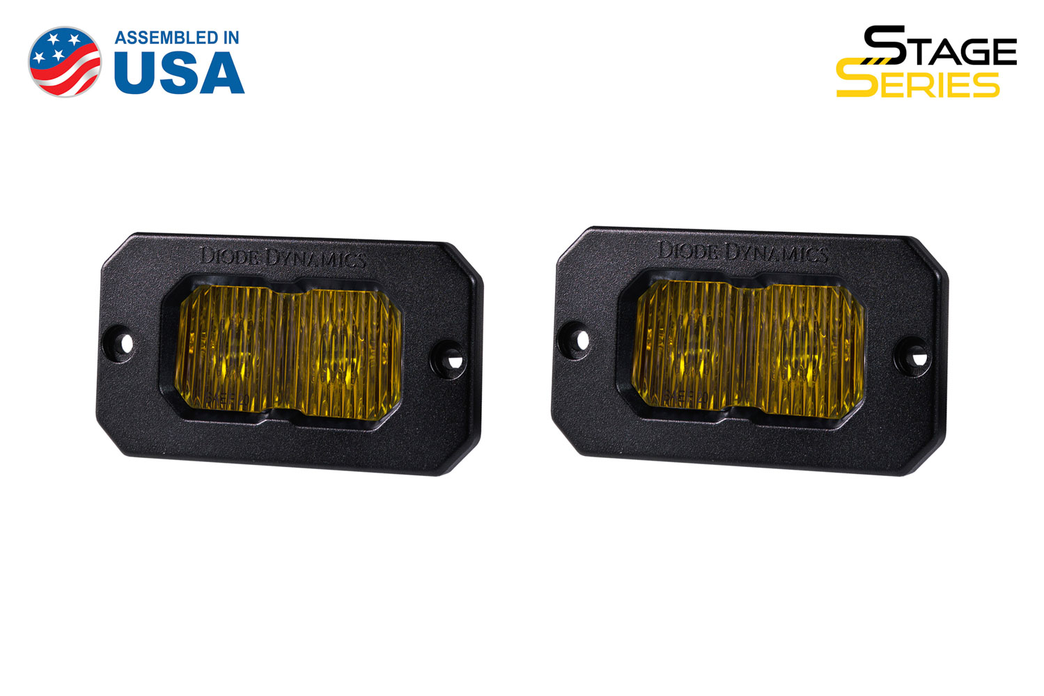 Diode Dynamics Stage Series 2 Inch LED Pod, Sport Yellow Fog Flush ABL Pair