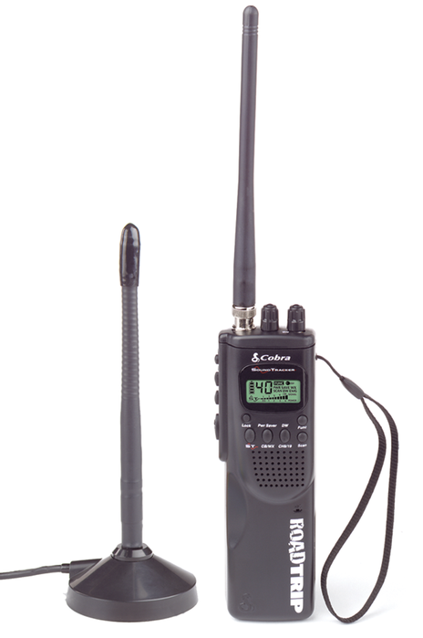 Cobra HH ROAD TRIP Hand Held 40 Channel CB Radio with Mobile Antenna, 10 Weather Channels and Soundtracker Noise Reduction