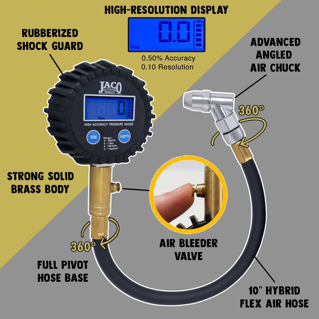 *NEW* - JACO ElitePro Digital Tire Pressure Gauge - 100 PSI