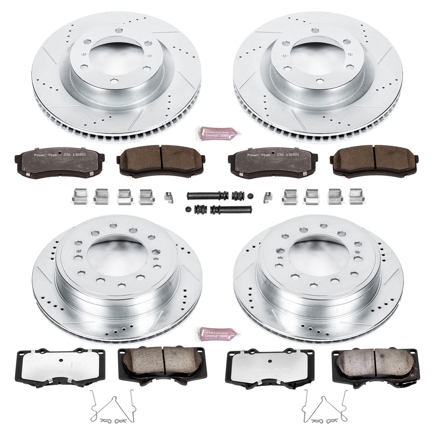 Power Stop Z36 Truck & Tow Brake Pads and Rotors - FRONT and REAR 2010+ 4Runner