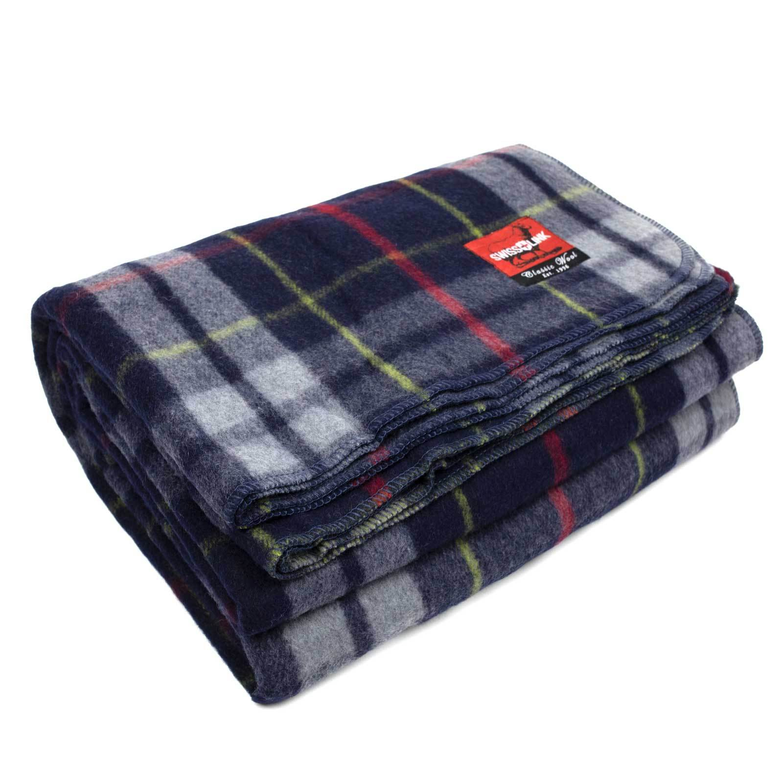 Swisslink Classic Wool Plaid Blanket - Five different Patterns 80% wool