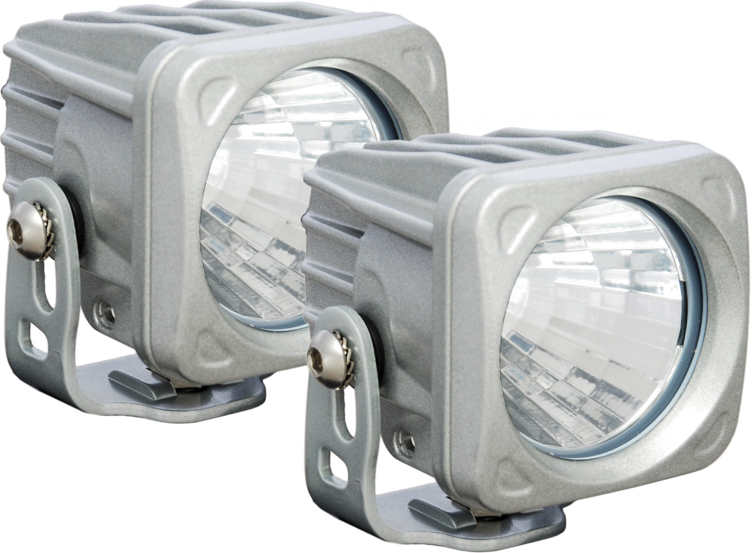 OPTIMUS SQUARE SILVER 1 10W LED 20° MEDIUM KIT OF 2 LIGHTS