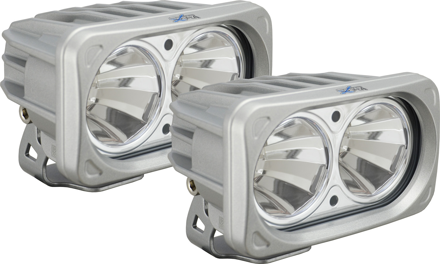 OPTIMUS SQUARE SILVER 2 10W LEDS 60° FLOOD KIT OF 2 LIGHTS
