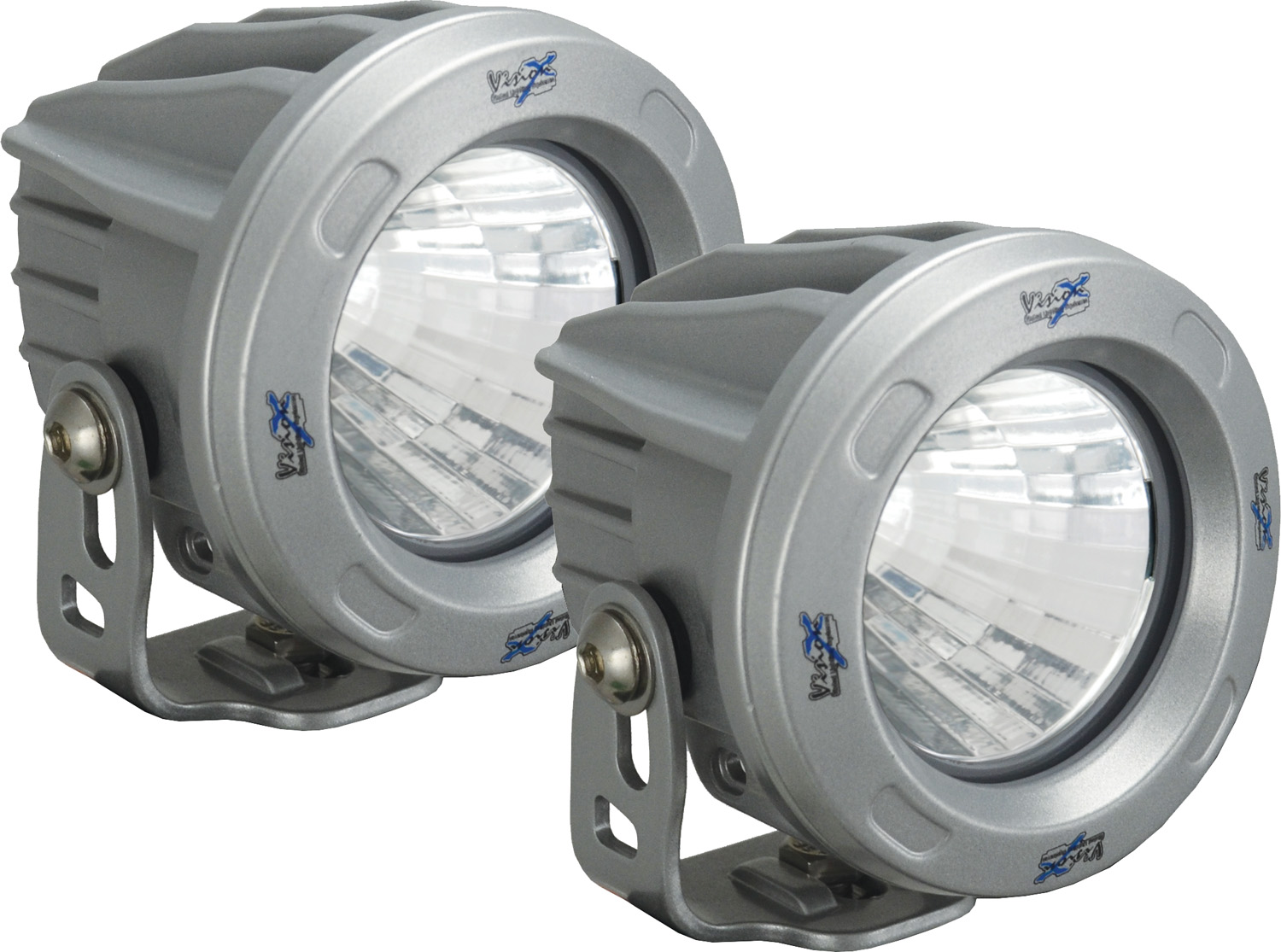 OPTIMUS ROUND SILVER 1 10W LED 60ç FLOOD KIT OF 2 LIGHTS