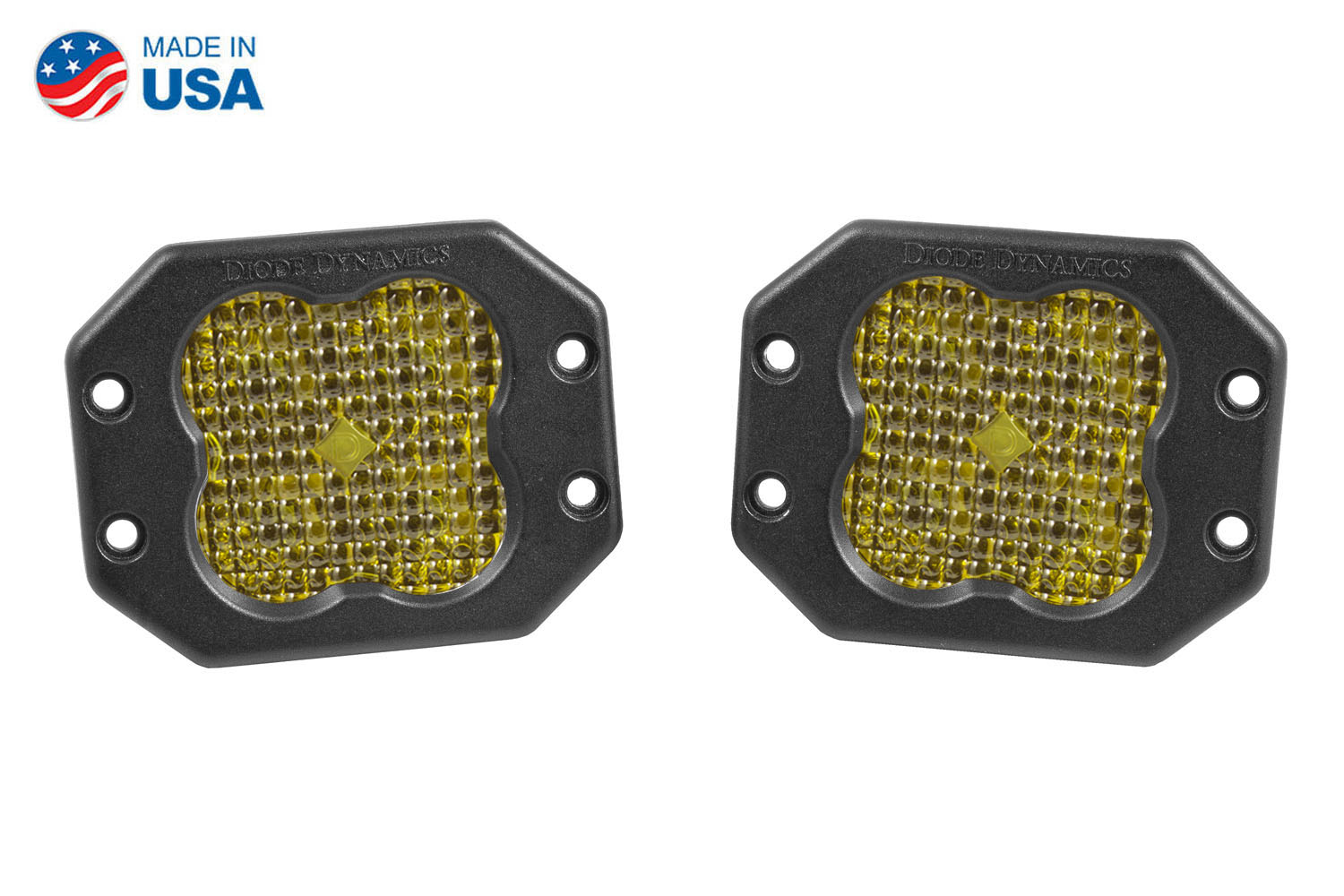 Diode Dynamics Worklight SS3 Pro Yellow Flood Flush (pair)