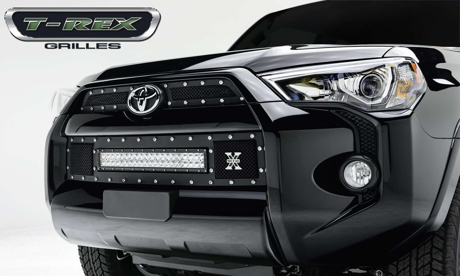"Toyota 4 Runner TORCH Series LED Light Grille 1 - 20"" Light Bar, Formed Mesh Grille, Main & Bumper Kit, 3 Pc's 2014+"