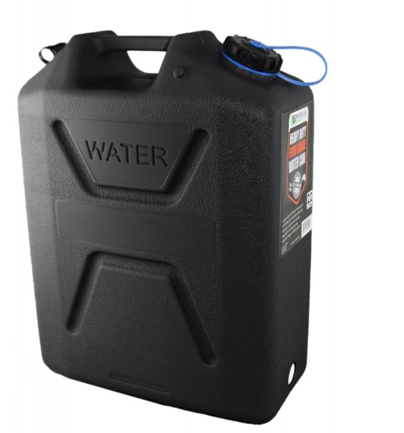 Wavian Heavy Duty Plastic 5 Gallon Water Can Black (4 Pack)